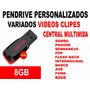 Pendrive 8gb Com Clipes Pra Central Multimídia Tv Com Usb