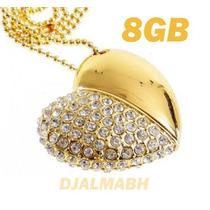 Pen Drive 8gb Personalizado Coração De Cristal Dourado