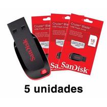 Kit 5 Pen Drive 16gb Sandisk Cruzer Blade Lacrado Original