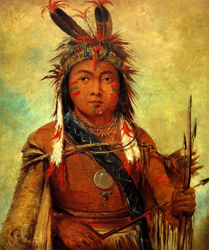 Espírito Curioso - Os Quatro Elementos Pequeno-indio-americano-guerreiro-pintor-catlin-tela-repro-10347-MLB20028305283_012014-O