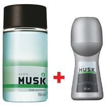 Kit Novo Musk Avon = 1 Colônia + 1 Desodorante Roll On