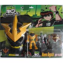 Kit Com 3 Bonecos Ben 10 + Mascara Alien Shock Squatch