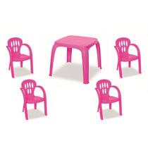 Mesa Infantil Rosa Com 4 Cadeiras | Frete Grátis