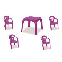 Mesa Infantil Violeta Com 4 Cadeiras | 12x Sem Juros