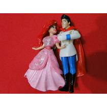 01 Par Bonecos Disney Princesa Ariel E O Principe Com 10 C