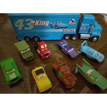 Caminhão Mack Carreta Miniatura + 14 Carros Personagem Filme