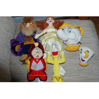 Bela Fera Bule Xícara Relógio Candelabro 6 Pelucias Disney