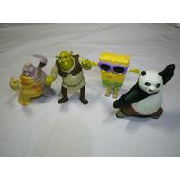 Lote Com 4 Bonecos Promocionais Mc Donalds Shrek Bob Esponja