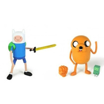 Kit Com 2 Bonecos Jake E Finn Hora Da Aventura Cartoon Pvc