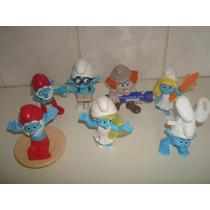 Lote C/ 07 Bonecos Smurfs Da Coleção Mc Donalds.