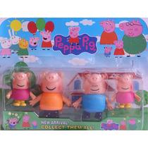 Peppa Pig Kit Coleção De Bonecos 4 Personagens Em Vinil