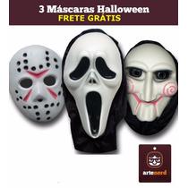 3 Mascaras Pânico Jason E Jogos Mortais - Frete Grátis !!