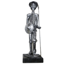 Dom Quixote De La Mancha Escultura Em Resina Prata