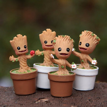 Kit 4 Baby Groot Action Figure 4,8cm Guardioes Da Galaxia