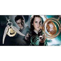 Colar Vira Tempo + Colar Pomo De Ouro Da Saga Harry Potter!