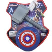Kit Brinquedo Do Herói Thor Martelo Escudo Capitão Amer 9072