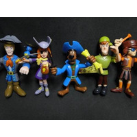 Kit Com 05 Bonecos Articulados Scoobydoo Roupas De Piratas