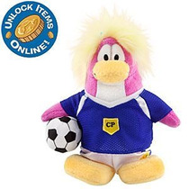 Club Penguin J. Futebol Pelúcia Com Moeda De Ouro Series 8