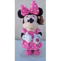Boneca Pelúcia Minnie Rosa Musical Que Dança Disney