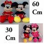 2 Casal Mickey Mouse E Minie 60 Cm E 30 Cm