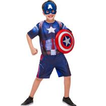 Fantasia Do Capitão América 2 Escudo Tamanho P - 2 A 4 Anos