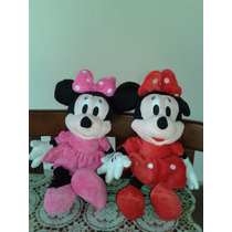 Kit2 Pelúcia Turma Do Mickey Minnie Pelucia Vermelha E Rosa