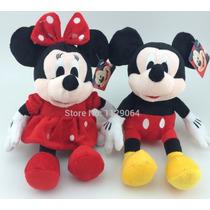 Kit Bonecos Pelucia Mickey E Minnie Original Disney 30cm