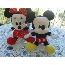 Pelúcia Casal Mickey E Minnie 28cm +dvd Inf Gratis P.entrega
