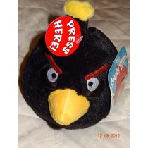 Pelúcia Angry Birds Pássaro Preto Médio 12 Cm Efeito Sonoro
