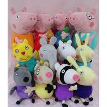 Super Kit Pelúcia Familia Peppa Pig E Amigos Com 12 Bonecos