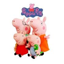 Família Peppa Pig Pelúcia - Mãe E Pai 30 Cm / Filhos 19 Cm