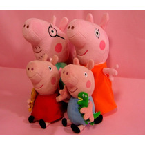 Pepa Kit C/ 4 Personagens Familia Peppa Pig Pelucia 30/19cm