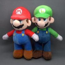 Kit 2 Pelucias Super Mario E Luigi 25cm