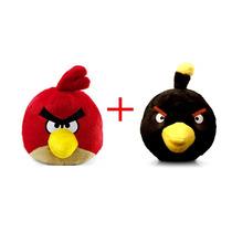 Kit C/ 2 Angry Birds Médio Com Som Vermelho E Preto