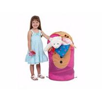Cesto Dobrável Ursinho Organizador Multiuso Brinquedos Roupa