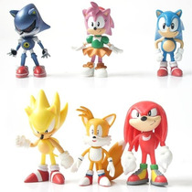 Pack Com 6 Bonecos - Sonic The Hedgehog 5 Cm Cada