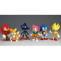Kit 6 Bonecos Sonic Coleção Knuckles Amy - Pronta Entrega!