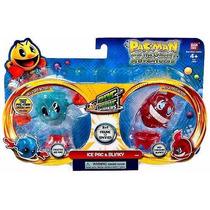 Kit 2 Bonecos Pac Man Panic Spinners Bandai Ice Pac & Blinky