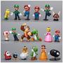 Kit C/ 18 Miniaturas Bonecos Action Figure Super Mario Bros