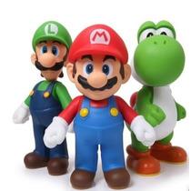 Kit 3 Peças Super Mario Luigi E Yoshi Articulados Nintendo
