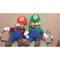 Boneco Pelúcia Mário + Luigi Super Mario Bros