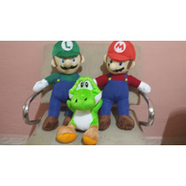 Kit 3 Bonecos Pelúcia Mario + Luigi + Yoshi Super Mario Bros
