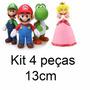 Kit 4 Peças Super Mario Luigi Yoshi Princesa Peach 13cm