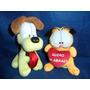Lote De 2 Pelúcias Usadas Gato Garfield E Cachorrinho Oddie