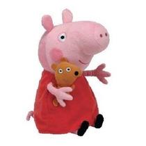Boneca Pelúcia Peppa Pig Porquinha Vestido Vermelho 30cm