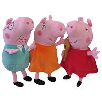 Kit Familia Peppa Pig Com 3 Pelucias Antialergico + Brinde
