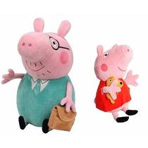 Peppa Pig E Papai Pig De Pelúcia Pronta Entrega Pepa Pai Pig