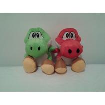 Kit Pelúcia Yoshi Verde + Vermelho Mario Bros Grande 34cm