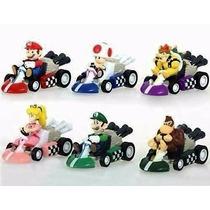 Kit 6 Carrinhos Miniaturas Mario Kart Pvc Fricção 5 Cms