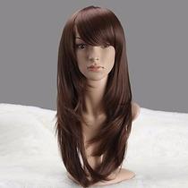Peruca Feminina Castanho Claro Lisa 55cm Igual Cabelo Humano